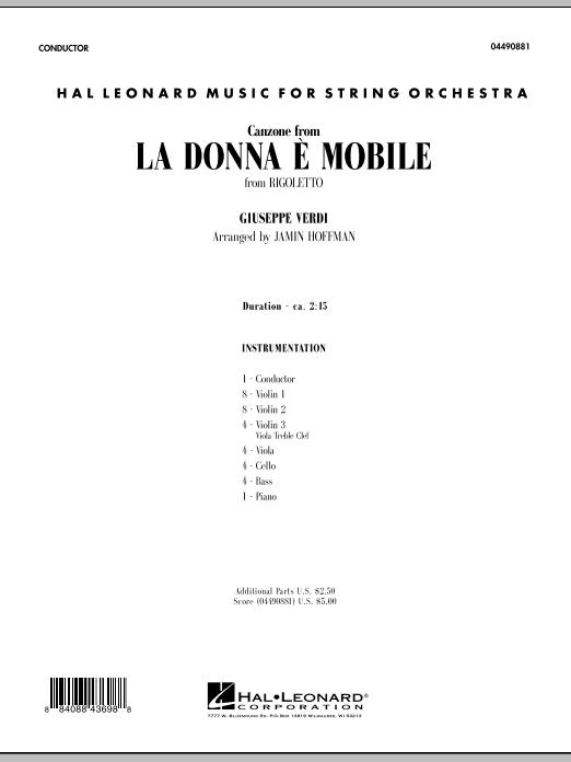 La Donna e Mobile (from Rigoletto) - Full Score (Orchestra)