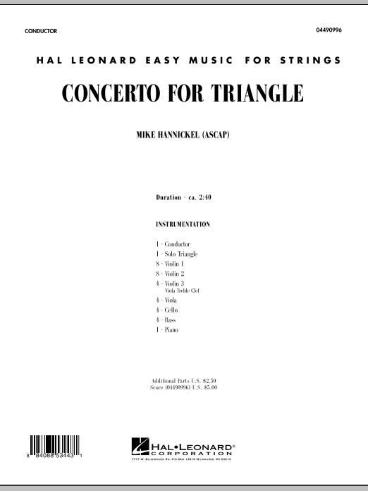 Concerto For Triangle (COMPLETE) sheet music for orchestra by Mike Hannickel. Score Image Preview.
