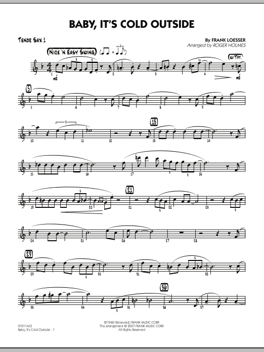 Baby, It's Cold Outside - Tenor Sax 1 (Jazz Ensemble)