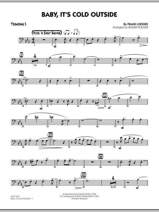 Baby Its Cold Outside Trombone 3 Sheet Music Roger