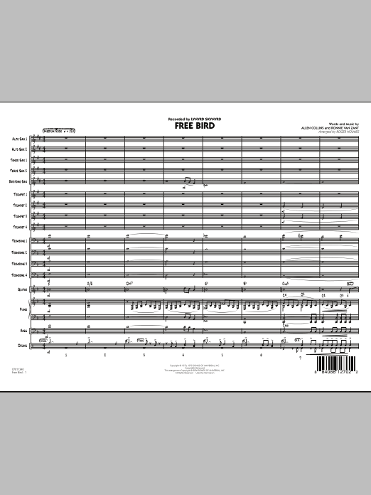 Free Bird (COMPLETE) sheet music for jazz band by Roger Holmes, Allen Collins, Lynyrd Skynyrd and Ronnie Van Zant. Score Image Preview.