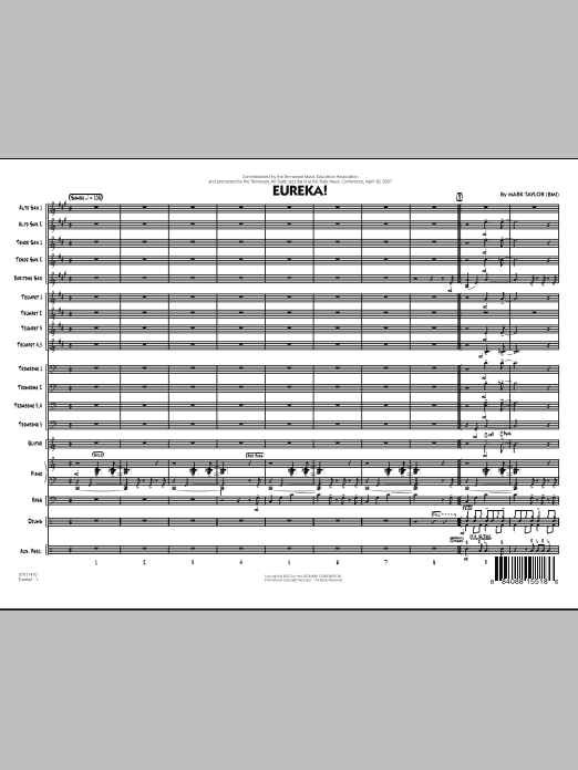 Eureka! (COMPLETE) sheet music for jazz band by Mark Taylor. Score Image Preview.