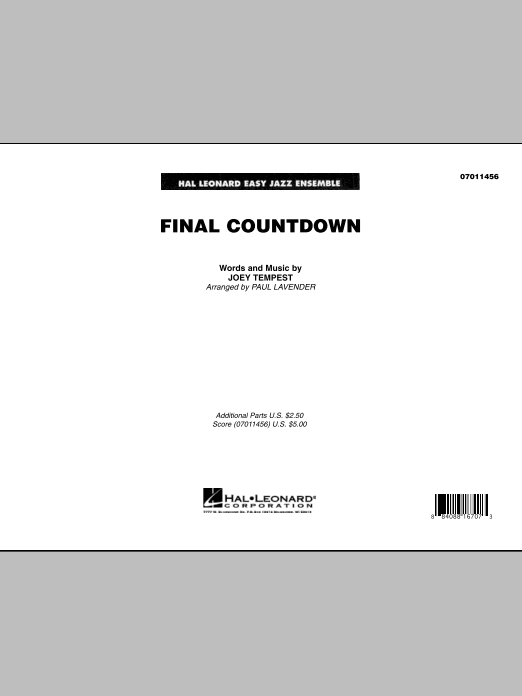 Final Countdown (COMPLETE) sheet music for jazz band by Joey Tempest, Europe and Paul Lavender. Score Image Preview.