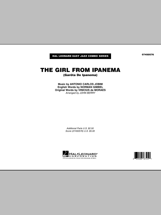The Girl From Ipanema (Garota De Ipanema) (COMPLETE) sheet music for jazz band by Antonio Carlos Jobim, John Berry, Norman Gimbel and Vinicius de Moraes. Score Image Preview.
