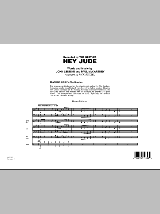 Hey Jude (COMPLETE) sheet music for jazz band by Rick Stitzel, John Lennon, Paul McCartney and The Beatles. Score Image Preview.