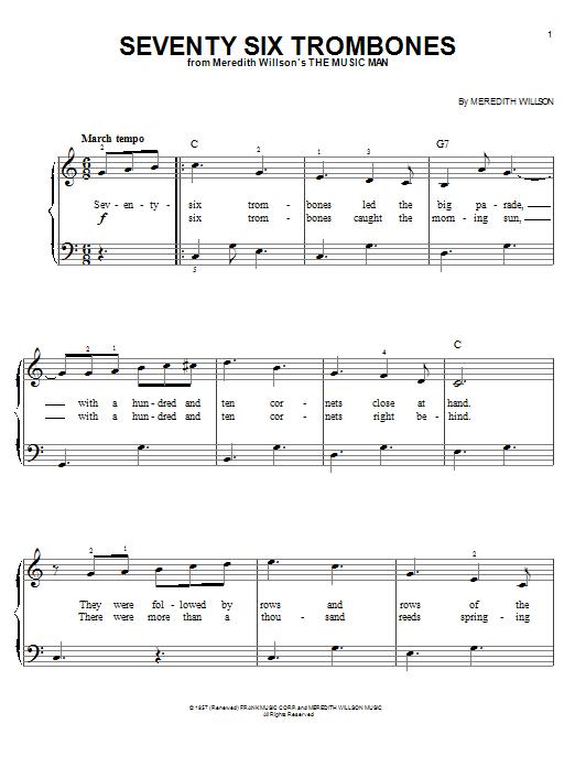 Seventy Six Trombones (Easy Piano)
