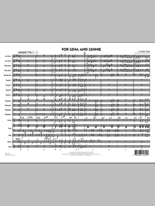 For Lena And Lennie (COMPLETE) sheet music for jazz band by Quincy Jones and Mark Taylor. Score Image Preview.