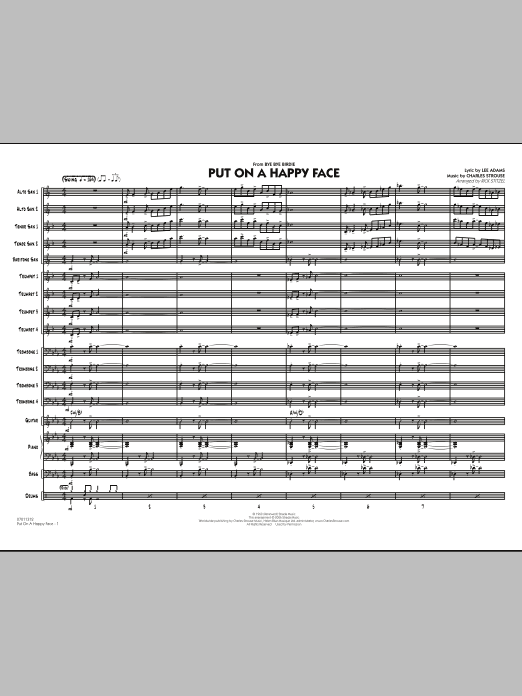 Put On A Happy Face (COMPLETE) sheet music for jazz band by Rick Stitzel, Charles Strouse and Lee Adams. Score Image Preview.
