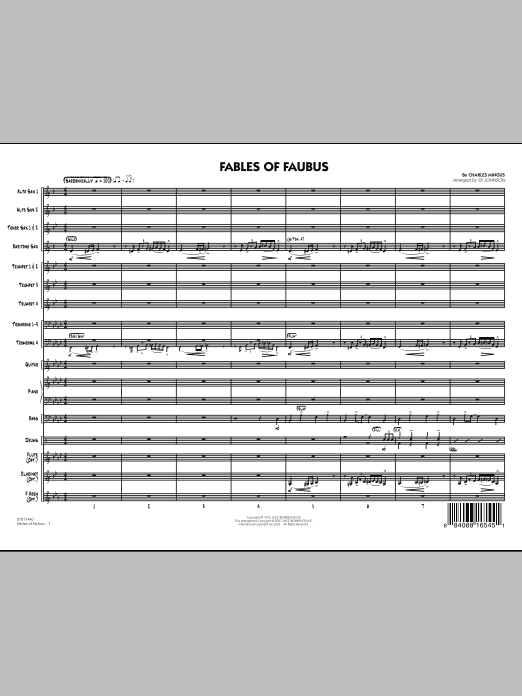Fables Of Faubus (COMPLETE) sheet music for jazz band by Sy Johnson and Charles Mingus. Score Image Preview.