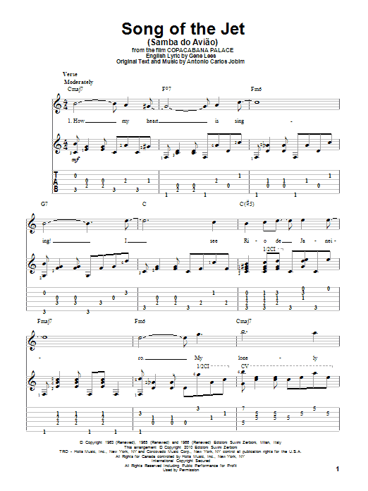 Song Of The Jet (Samba do Aviao) (Guitar Tab)