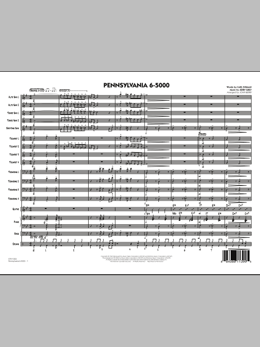 Pennsylvania 6-5000 (COMPLETE) sheet music for jazz band by John Berry, Carl Sigman, Glenn Miller and Jerry Gray. Score Image Preview.