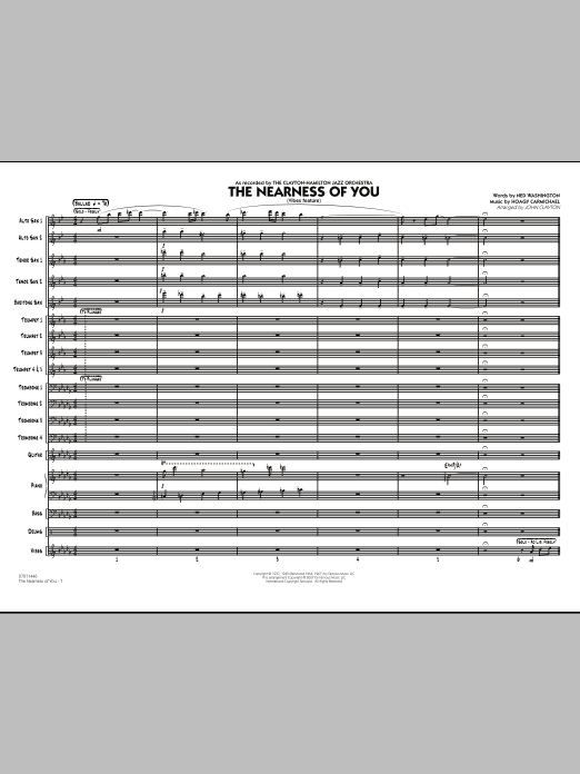 The Nearness Of You (COMPLETE) sheet music for jazz band by John Clayton, Hoagy Carmichael and Ned Washington. Score Image Preview.