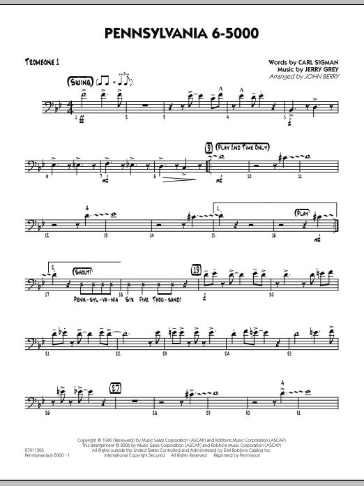 Pennsylvania 6-5000 - Trombone 1 (Jazz Ensemble)