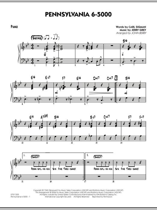 Pennsylvania 6-5000 - Piano (Jazz Ensemble)