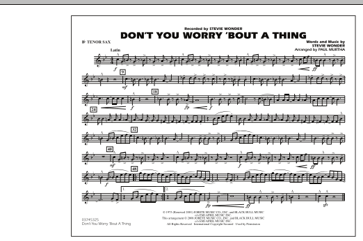 Don't You Worry 'Bout A Thing - Bb Tenor Sax (Marching Band)