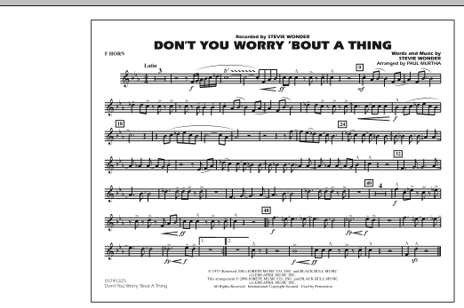 Don't You Worry 'Bout A Thing - F Horn Sheet Music