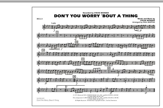 Don't You Worry 'Bout A Thing - Bells (Marching Band)