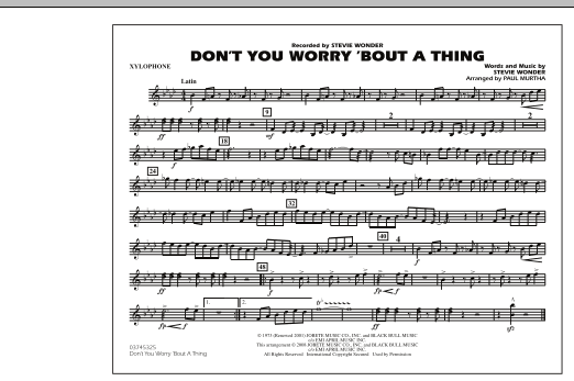Don't You Worry 'Bout A Thing - Xylophone (Marching Band)