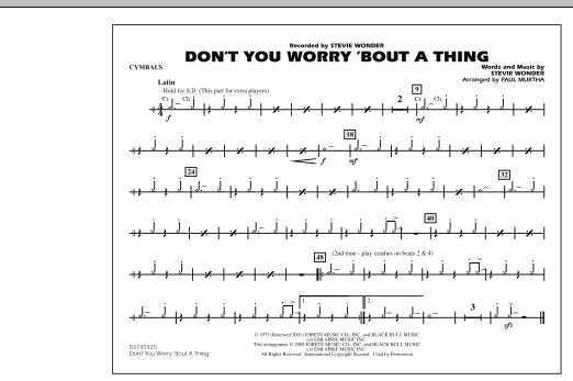 Don't You Worry 'Bout A Thing - Cymbals (Marching Band)
