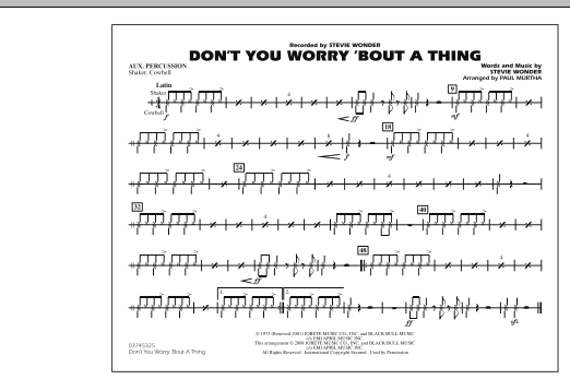 Don't You Worry 'Bout A Thing - Aux Percussion (Marching Band)