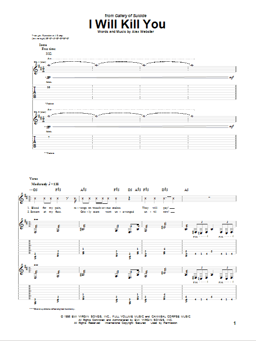 Tablature guitare I Will Kill You de Cannibal Corpse - Tablature Guitare