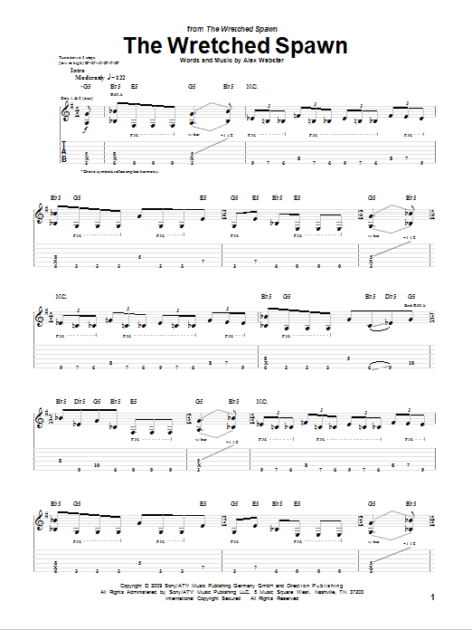 Tablature guitare The Wretched Spawn de Cannibal Corpse - Tablature Guitare