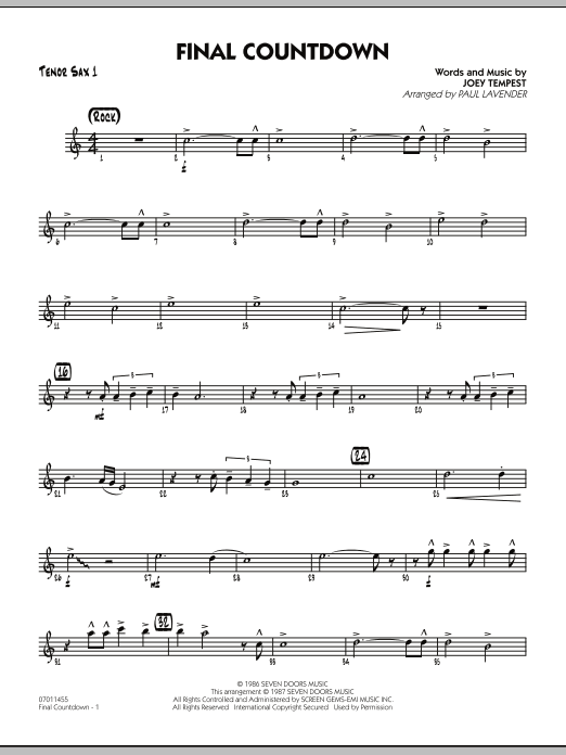 Final Countdown - Tenor Sax 1 (Jazz Ensemble)