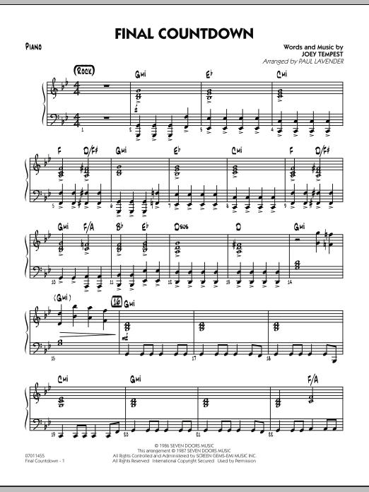 Final Countdown - Piano (Jazz Ensemble)