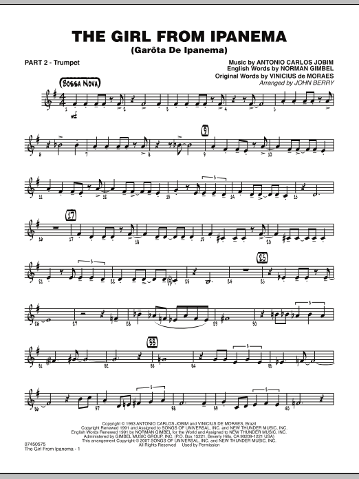 The Girl From Ipanema (Garota De Ipanema) - Part 2 - Bb Trumpet (Jazz Ensemble)