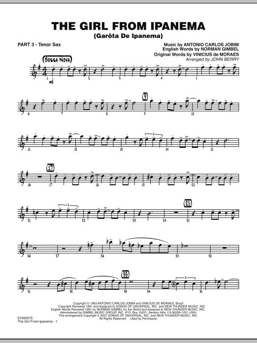 The Girl From Ipanema (Garota De Ipanema) - Part 3 - Bb Tenor Sax (Jazz Ensemble)