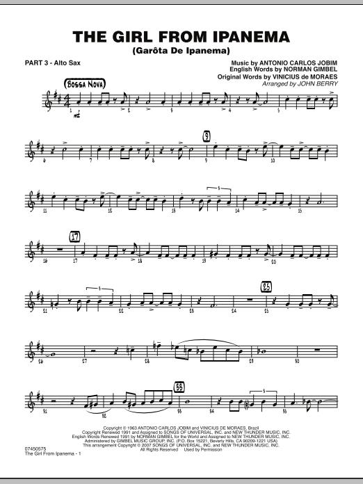 The Girl From Ipanema (Garota De Ipanema) - Part 3 - Eb Alto Sax (Jazz Ensemble)