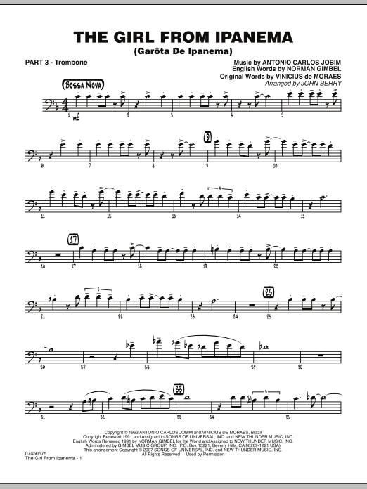 The Girl From Ipanema (Garota De Ipanema) - Part 3 - Trombone (Jazz Ensemble)