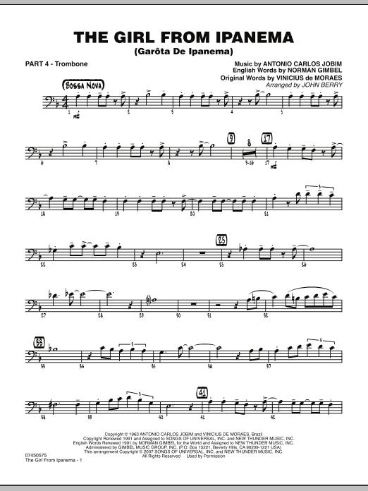 The Girl From Ipanema (Garota De Ipanema) - Part 4 - Trombone (Jazz Ensemble)