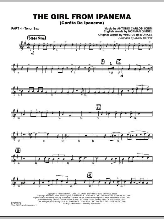 The Girl From Ipanema (Garota De Ipanema) - Part 4 - Bb Tenor Sax (Jazz Ensemble)