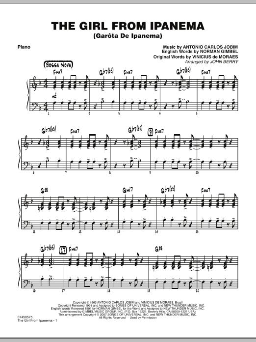 The Girl From Ipanema (Garota De Ipanema) - Piano (Jazz Ensemble)