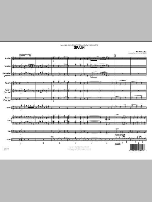 Spain (COMPLETE) sheet music for jazz band by John La Barbera and Chick Corea. Score Image Preview.