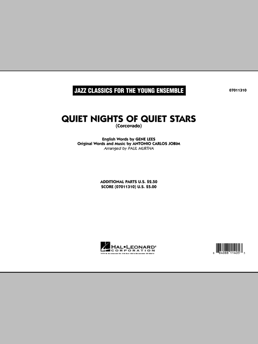 Quiet Nights Of Quiet Stars (Corcovado) (COMPLETE) sheet music for jazz band by Paul Murtha, Antonio Carlos Jobim and Eugene John Lees. Score Image Preview.