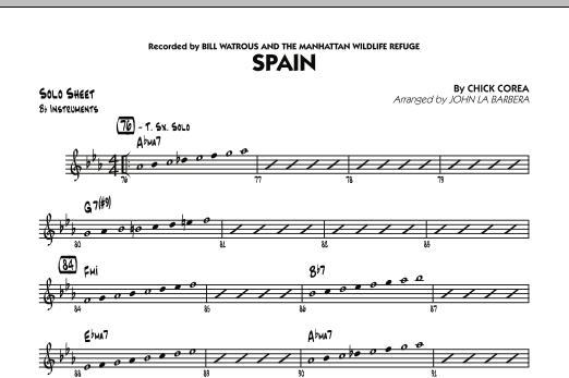 Spain - Bb Solo Sheet (Jazz Ensemble)