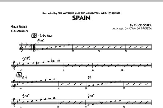 Spain - Eb Solo Sheet (Jazz Ensemble)