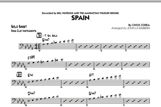 Spain - Bass Clef Solo Sheet (Jazz Ensemble)