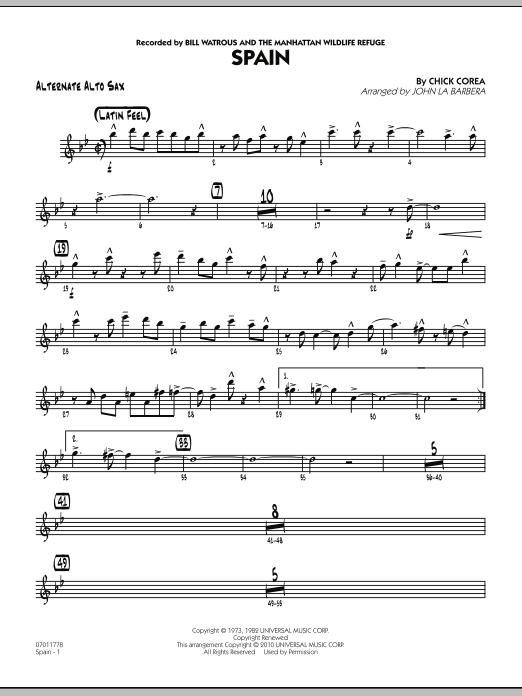 Spain - Alternate Alto Sax (Jazz Ensemble)