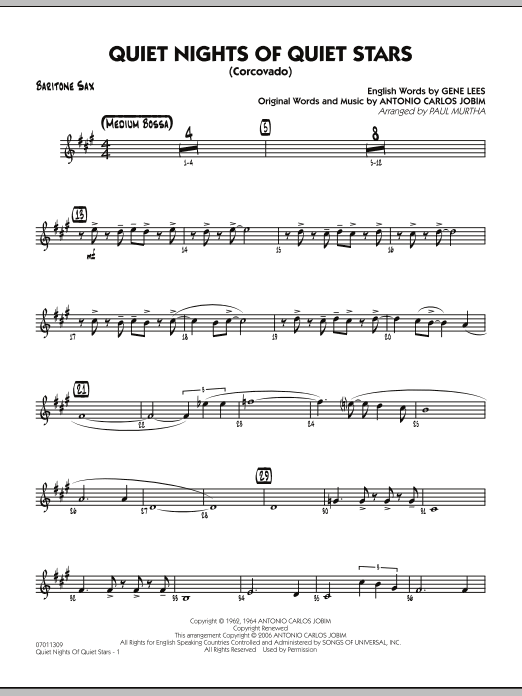 Quiet Nights Of Quiet Stars (Corcovado) - Baritone Sax (Jazz Ensemble)