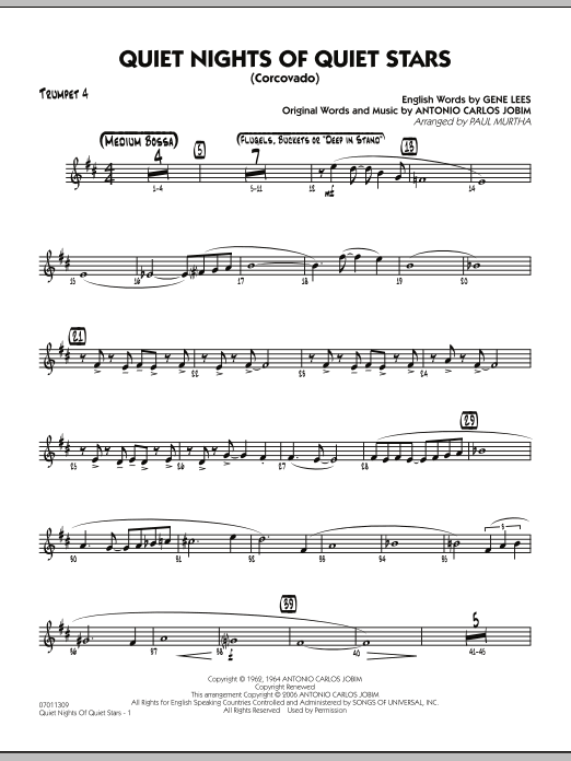 Quiet Nights Of Quiet Stars (Corcovado) - Trumpet 4 (Jazz Ensemble)