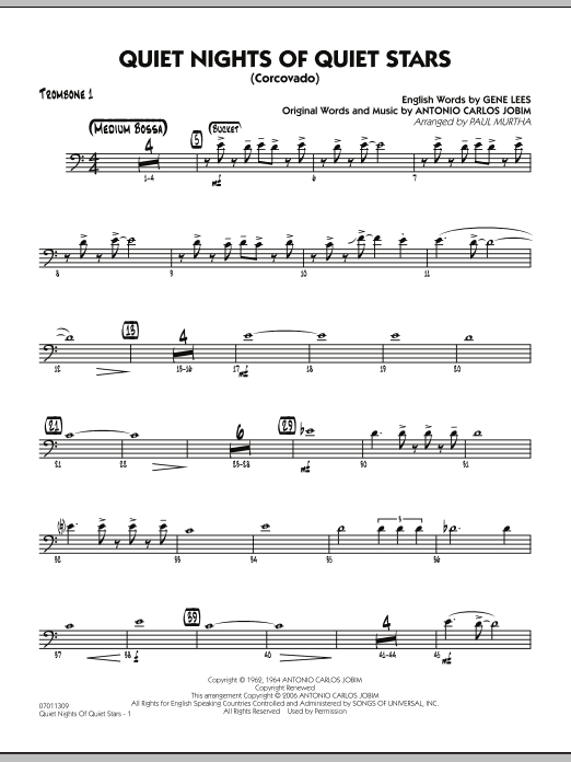 Quiet Nights Of Quiet Stars (Corcovado) - Trombone 1 (Jazz Ensemble)