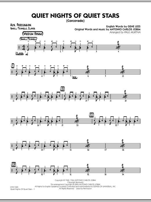 Quiet Nights Of Quiet Stars (Corcovado) - Aux Percussion (Jazz Ensemble)