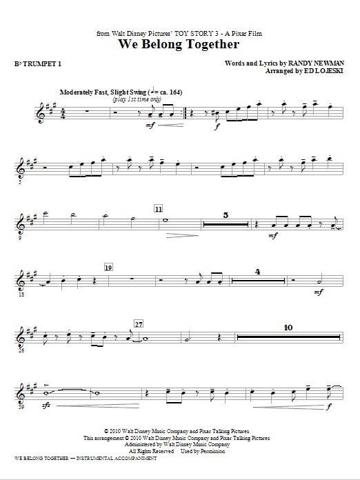 We Belong Together (from Toy Story 3) - Bb Trumpet 1 | Sheet Music ...