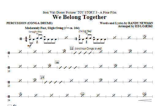 We Belong Together (from Toy Story 3) (complete set of parts) sheet music for orchestra/band (chamber ensemble) by Ed Lojeski and Randy Newman. Score Image Preview.