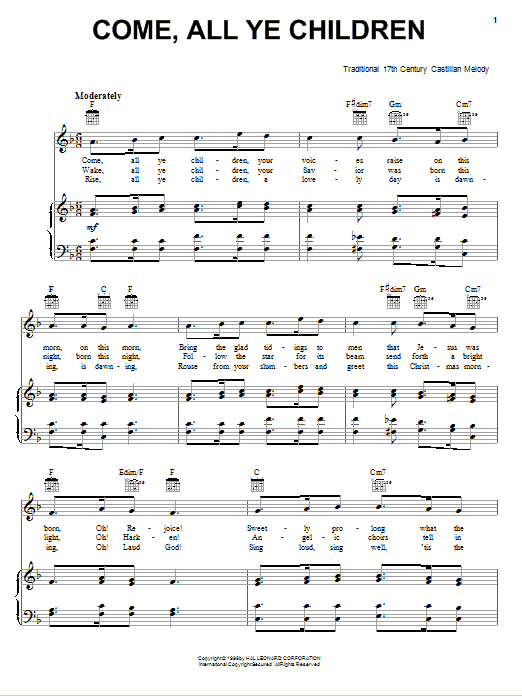 Come, All Ye Children (Piano, Vocal & Guitar (Right-Hand Melody))