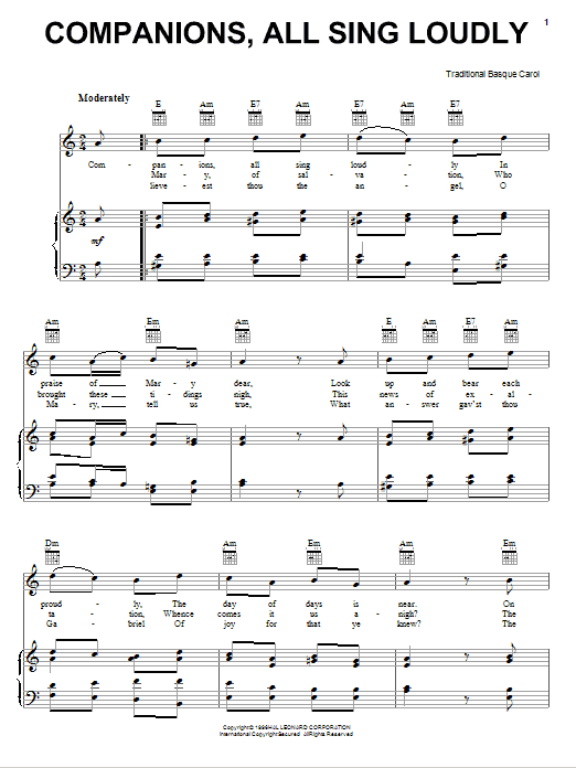 Companions, All Sing Loudly Sheet Music