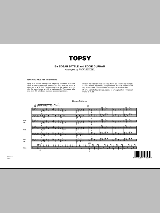 Topsy (COMPLETE) sheet music for jazz band by Rick Stitzel, Eddie Durham and Edgar Battle. Score Image Preview.